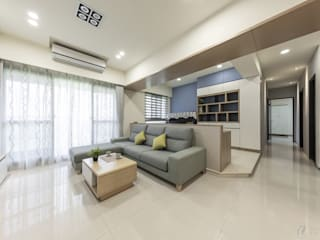 CAI House‧鳳凰時代 现代客厅設計點子、靈感 & 圖片 根據 元作空間設計 現代風