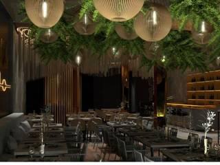 Interiorismo en un restaurante. Diseño y decoración en Málaga Gastronomía de estilo moderno de DECORACIÓN E INTERIORISMO OBRASA Moderno