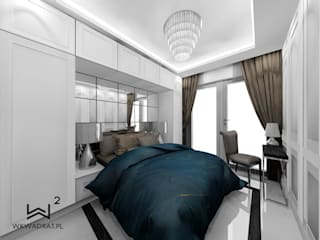 Sypialnia w stylu glamour Wkwadrat Architekt Wnętrz Toruń Małe sypialnie Marmur Biały