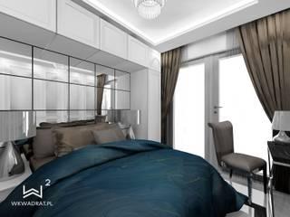 Sypialnia w stylu glamour Wkwadrat Architekt Wnętrz Toruń Małe sypialnie Płyta MDF Niebieski