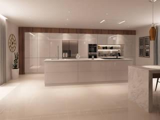 Projecto 3D -Cozinha e Sala de Jantar - Braga Alpha Details Cozinhas modernas Branco