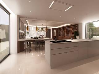 Projecto 3D -Cozinha e Sala de Jantar - Braga Alpha Details Cozinhas embutidas Acabamento em madeira