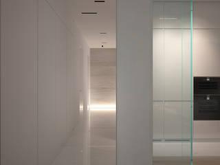 Квартира в ЖК Донской Олимп Dmitriy Khanin Коридор, прихожая и лестница в стиле минимализм Мрамор Бежевый