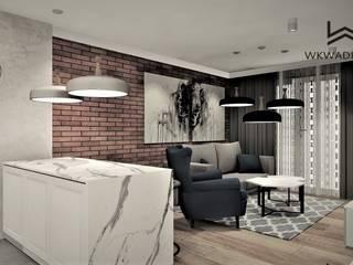 Apartament na wynajem Wkwadrat Architekt Wnętrz Toruń Nowoczesny salon Cegły O efekcie drewna