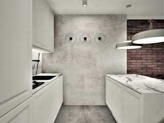 Apartament na wynajem Wkwadrat Architekt Wnętrz Toruń Aneks kuchenny Beton Biały