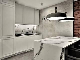 Apartament na wynajem Wkwadrat Architekt Wnętrz Toruń Małe kuchnie Marmur Szary