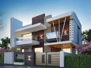 residential banglow by Nirav Design Modern Solid Wood Multicolored
