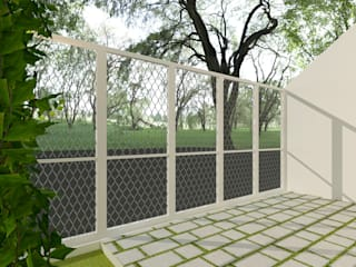 TIES Design & Build Minimalist balcony, veranda & terrace