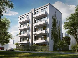 Budynek Mieszkalny wizualizacja tył: styl , w kategorii Dom wielorodzinny zaprojektowany przez Zbigniew Tomaszczyk  Decorum Architekci Sp z o.o.