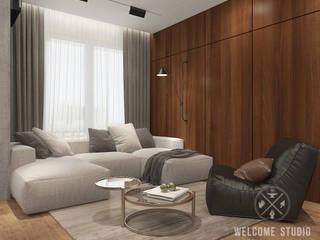 «Квартира для архитекторов» в г. Москва: Гостиная в . Автор – Мастерская дизайна Welcome Studio, Минимализм