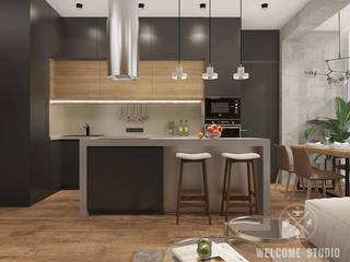 Мастерская дизайна Welcome Studio Cocinas de estilo minimalista Negro