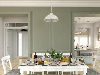 Светлая гостиная со столовой и кухня Столовая комната в эклектичном стиле от BAUART INTERIOR DESIGN Эклектичный