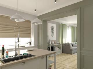 Светлая гостиная со столовой и кухня Кухни в эклектичном стиле от BAUART INTERIOR DESIGN Эклектичный