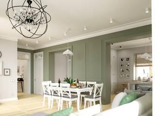 Светлая гостиная со столовой и кухня Гостиные в эклектичном стиле от BAUART INTERIOR DESIGN Эклектичный