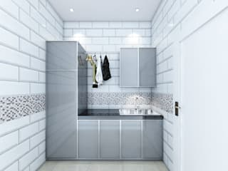 ruang cuci viku Koridor & Tangga Minimalis Keramik White