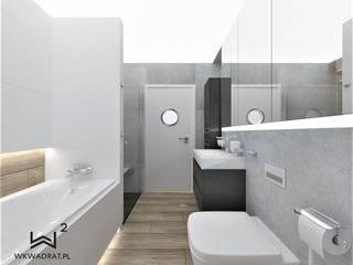 Łazienka beton i drewno Wkwadrat Architekt Wnętrz Toruń Skandynawska łazienka Beton Szary