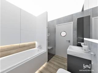 Łazienka beton i drewno Wkwadrat Architekt Wnętrz Toruń Skandynawska łazienka Drewno Biały