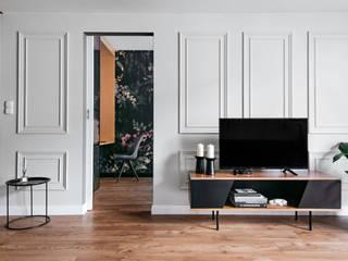 Projekt apartamentu na ul. Augustiańskiej w Krakowie: styl , w kategorii  zaprojektowany przez buKadesign pracownia projektowa
