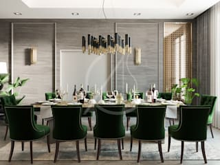 Modern Classic House Interior Design:  Dining room by Comelite Architecture, Structure and Interior Design