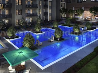 Gorgeous Courtyard Landscape Pool View Design Ideas of 3D Exterior Rendering Services by Architectural Modeling Firm, Brussels – Belgium Yantram Architectural Design Studio Modern