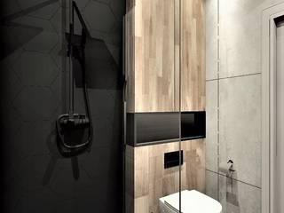 Łazienka w apartamencie na wynajem Wkwadrat Architekt Wnętrz Toruń Nowoczesna łazienka Beton Czarny