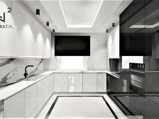Kuchnia w domie pod Toruniem Wkwadrat Architekt Wnętrz Toruń Kuchnia na wymiar Marmur Czarny