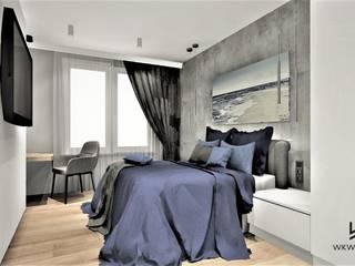 Sypialnia w Apartamencie na wynajem Wkwadrat Architekt Wnętrz Toruń Małe sypialnie Beton Szary