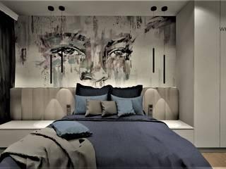 Sypialnia w Apartamencie na wynajem Wkwadrat Architekt Wnętrz Toruń Małe sypialnie Beton Biały