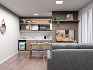 Stúdio Moderno e Prático: Salas de estar  por Projeto 3D Online