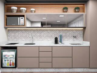 Stúdio Moderno e Prático: Cozinhas pequenas  por Projeto 3D Online