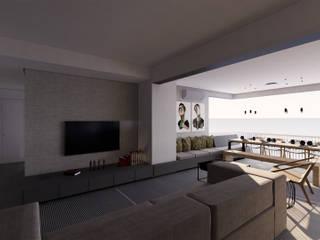 Saulo Magno Arquiteto Ruang Keluarga Minimalis Grey