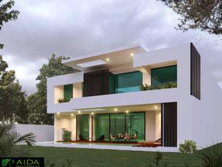 FACHADA TRASERA YCC-W06: Casas unifamiliares de estilo  por AIDA TRACONIS ARQUITECTOS EN MERIDA YUCATAN MEXICO