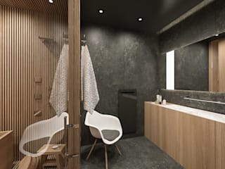 MIRAI STUDIO Asian style bathrooms Wood Wood effect