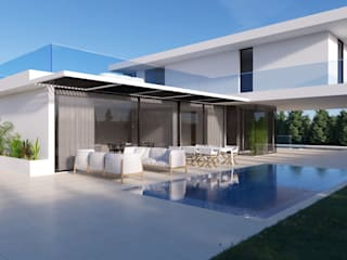 Moradia Unifamiliar, Vila Franca de Xira Piscinas modernas por Nuno Ladeiro, Arquitetura e Design Moderno
