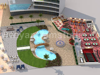 Unique Game Zone with Beach side Swimming Pool 3D Floor Plan Rendering Service by Architectural Visualisation Studio, Paris – France Yantram Architectural Design Studio Modern