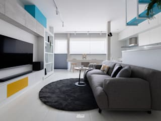 邑田空間設計 Minimalist living room White