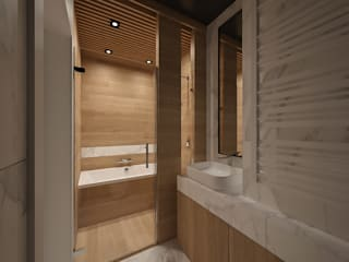 MIRAI STUDIO Modern style bathrooms Wood Wood effect