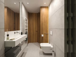 MIRAI STUDIO Modern style bathrooms Concrete Grey