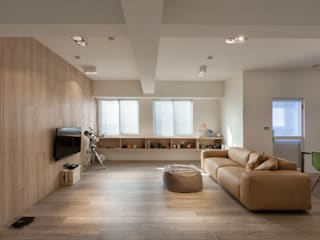 Salas de estar asiáticas por 木介空間設計 MUJIE Design Asiático