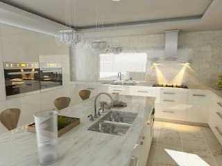 OLLIN ARQUITECTURA KitchenCabinets & shelves Granite White