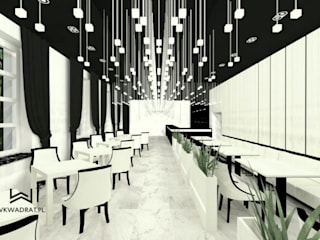 Restauracja hotelowa Wkwadrat Architekt Wnętrz Toruń Gastronomia Marmur Biały