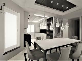 Jadalnia w domu pod Toruniem Wkwadrat Architekt Wnętrz Toruń Minimalistyczna jadalnia Marmur Biały
