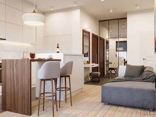 Дизайн інтер'єру двокімнатної квартири в стилі мінімалізм, Київ Марина Янченкова Кухня Дерево Білий