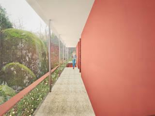 Moradia Covas Corredores, halls e escadas minimalistas por ARQ|EMA Minimalista