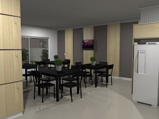 Área comum de prédio residencial Cozinhas modernas por Jaqueline Ribeiro - Designer de Interiores Moderno