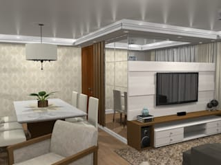 Sala de jantar e home theater com lareira Salas de estar modernas por Jaqueline Ribeiro - Designer de Interiores Moderno