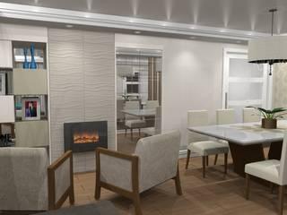 Sala de jantar e home theater com lareira Salas de jantar modernas por Jaqueline Ribeiro - Designer de Interiores Moderno