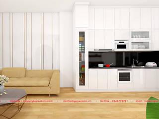 Mẫu tủ bếp gỗ acrylic màu trắng đang hót đầu năm 2019 bởi Nội thất Nguyễn Kim
