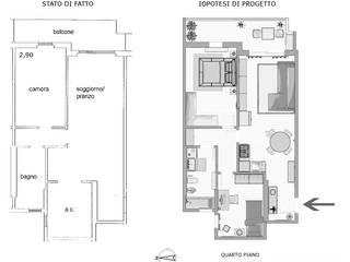 Ipotesi di progetto da bilocale e trilocale per Appartamento in Vendita di Planimetrie Realistiche Moderno