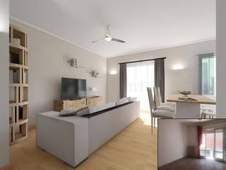Home Staging Virtuale Living Soggiorno classico di Planimetrie Realistiche Classico